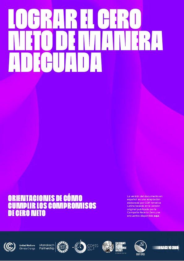 Publicación: Lograr el Cero Neto (ESPAÑOL)
